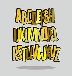 graffiti comic alphabet lettering font vector image