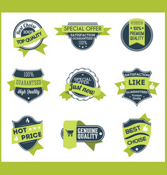 green marketing labels set of 5 vector image
