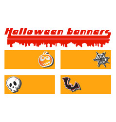 halloween pumpkin skull cobweb and bat sticker vector image