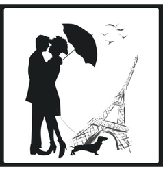 Happy young lovers couple kissing in Paris France vector