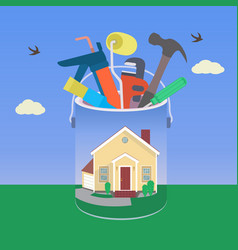House with tool in colorful design vector