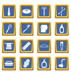 Hygiene tools icons set blue vector