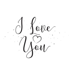 I Love You inscription Greeting card with vector image