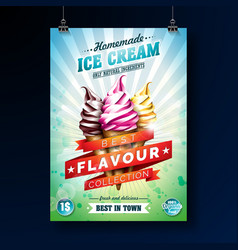 Ice cream poster design with delicious dessert and vector