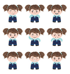kawaii girl emotions vector image