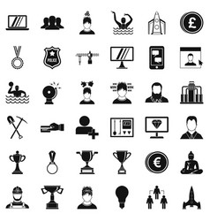 leadership icons set simple style vector image