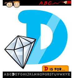 Letter d with diamond cartoon vector