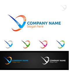 letter v for digital logo marketing financial vector image