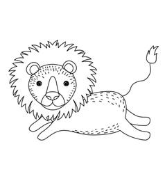 lion cute wildlife icon vector image