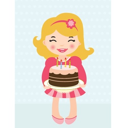 little girl birthday cake vector image vector image