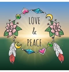 love and peace emblem boho style vector image