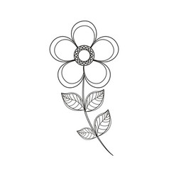 Magnolia flower decoration line vector