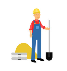 male construction worker character standing with vector image
