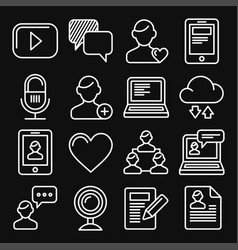 media and blog icons set on black background vector image