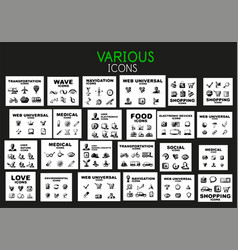 mega collection of black web icons vector image