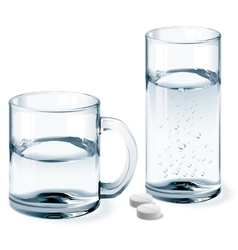 Mug and glass of water vector