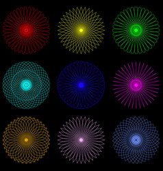Neon lines spirograph and water marks vector