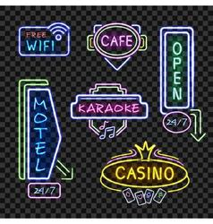 Neon Signboards Realistic Night Collection vector