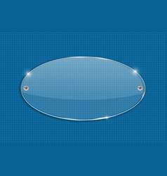 Oval transparent glass plate on blueprint vector