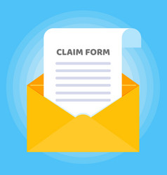 Paper sheet with claim form to fill out and text vector
