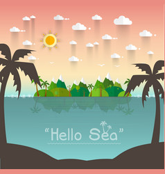 Paradise coast landscape with mountains summer vector