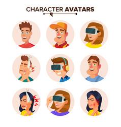 People characters avatars set cartoon flat vector