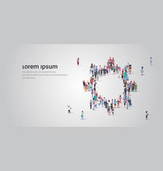 people crowd gathering in gear wheel icon shape vector image