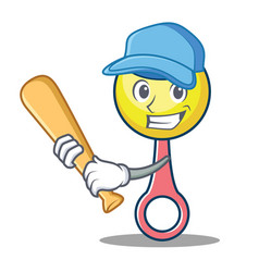 Playing baseball rattle toy character cartoon vector