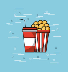 Pop corn and soda concept vector