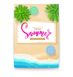 poster with summer beach seashore for touristic vector image