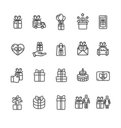 present gift signs black thin line icon set vector image