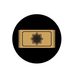 Ramadan concept prayer rug icon block line style vector