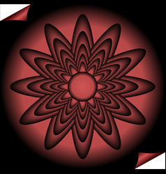 red fractal inspired flower in circle shape on vector image