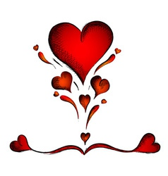 red hearts isolated on the white vector image