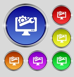 Repair computer icon sign Round symbol on bright vector