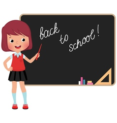 Schoolchild standing at the blackboard vector