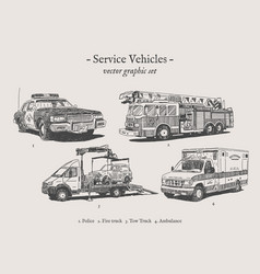 Service vehicles vintage set vector