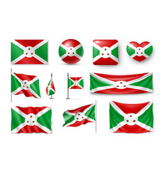 Set burundi flags banners banners symbols vector
