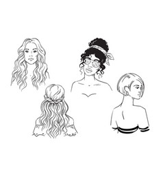 set different female hairstyles sketch vector image