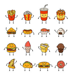 Set of cartoon doodle icons junk food vector