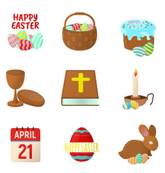 set of easter icons happy easter on white vector image