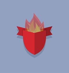 Shields with fire element heraldic vector