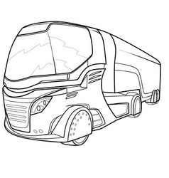 sketch a passenger bus coloring book isolated vector image