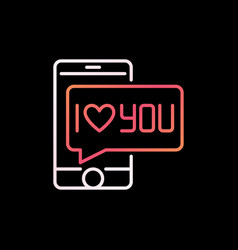 smartphone with i love you bubble colorful vector image