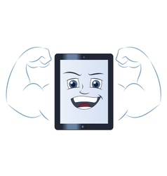 Smiling powerful tablet computer vector image