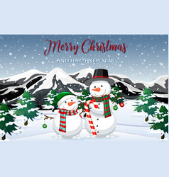 snowman in nature vector image