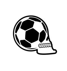 soccer ball skull football fans emblem skeleton vector image