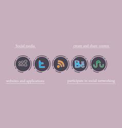 Social network symbols in speech balloons vector