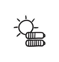 Solar energy sketch icon vector