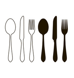 Table setting tableware cutlery set of fork vector